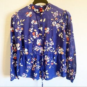 Merona Button Down Floral Top size M